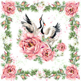 floral shawl textile design. Silk scarf with roses flower and japanese crane bird. watercolor hand drawn asian traditional motif background. textile design