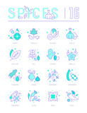 Set Blue Line Icons of Spices - 218997521