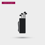 Golf clubs icon. Simple game element illustration. Bag symbol design from sport collection. Can be used in web and mobile.