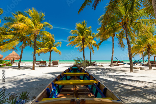 Tropical beach setting on Isla Holbox, Mexico - 219014767