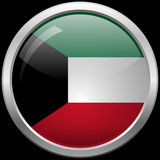 Kuwaiti flag glass button vector illustration