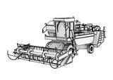 sketch combine harvester vector - 219020929