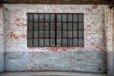 Old antique brick amd motar wall window door rust backgound