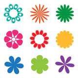 Colorful flower icon set