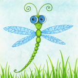 hand drawn picture of cute flying dragonfly by the color pencils