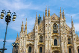 View on the Cathedral church of Milan, Italy on a sunny day.