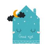 Good night print with cute sleeping house. Vector hand drawn illustration. - 219033107