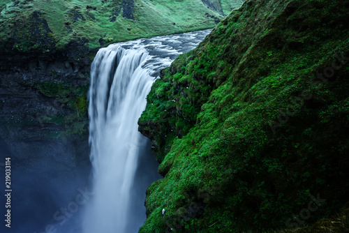 Famous Skogafoss waterfall on Skoga river. Iceland, Europe - 219033114