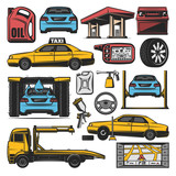 Car repair and service station vector icons
