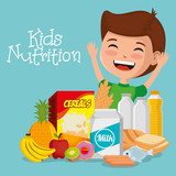happy boy with nutrition food vector illustration design - 219056528