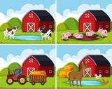 A set of rural farm house