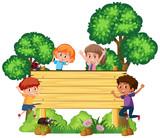 Wooden signboard with happy children