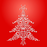 Christmas element. Christmas tree red holiday card. Vector Illustration.