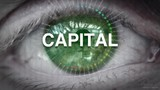 Close up of an eye focusing on Capital concept on a futuristic screen. - 219072557