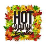 Hot autumn sale advertisement banner with red maple leaves, poster, retail, discount, vector illustration