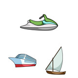 Water and sea transport cartoon icons in set collection for design. A variety of boats and ships vector symbol stock web illustration.
