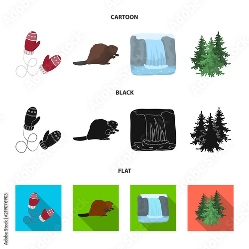 Canadian Fir Beaver And Other Symbols Of Canadanada Set
