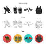 Sport, game, paintball, competition .Paintball set collection icons in flat,outline,monochrome style vector symbol stock illustration web.