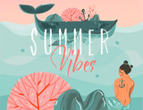 Hand drawn vector abstract cartoon summer time graphic illustrations art background with ocean beach landscape,big whale,sunset scene and beauty mermaid girl with Summer vibes typography quote - 219090798