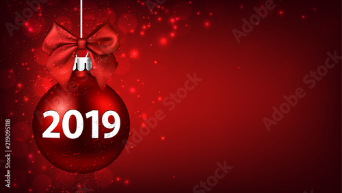 red 2019 new year background with christmas ball