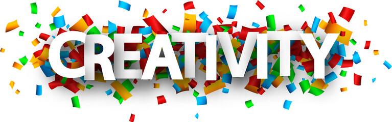 Creativity banner with colorful confetti. © Vjom