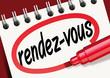Rendez-vous, mot, bloc-notes, entrevue, réunion, convocation, rencontre, client, invitation, entrevue
