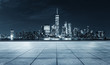 empty floor and skyline of modern city new york