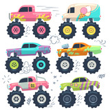 Monster trucks. Kids car toys. Cartoon vector set