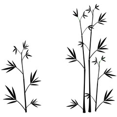 Bamboo silhouettes wall sticker black © Sushi