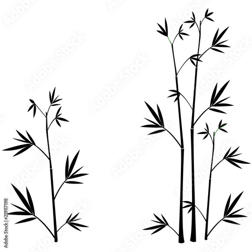 Bamboo silhouettes wall sticker black