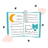 Fairy tales book with bear. Kids graphic for nursery or apparel. Vector hand drawn illustration. - 219118742