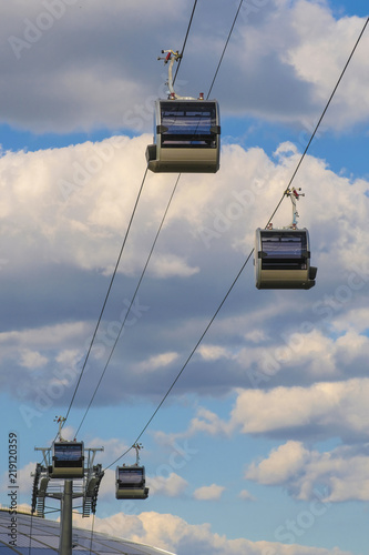 Moscow, Russia - August, 17, 2018: ropeway in Moscow, Russia