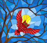 The illustration in stained glass style painting with the fabulous red owl in the day sky and sun in between the branches of the tree