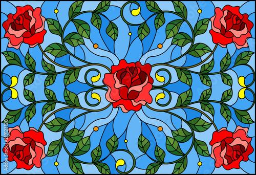 ilustracja-w-witrazu-styl-z-czerwieni-roza-rozgalezia-sie-na-blekitnym-tle-prostokatnym