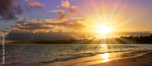 Caribbean sunset on tropical beach. Sky sunset. - 219126391