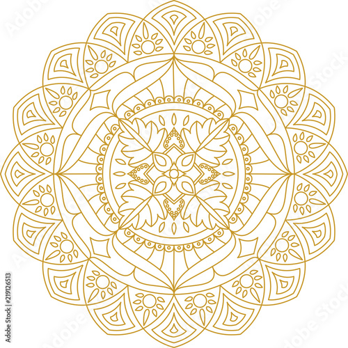 Mandala ornament, vector illustration. Gold color mandala. Adult mandala coloring page.