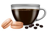 Coffee cup with roasted coffee beans and macarons. Vector illustration.