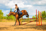 Jockey young girl doing horse jumping through hurdle - 219136153