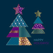 blue and gold xmas tree design element