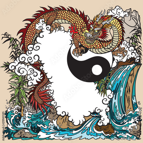 Eastern dragon in a landscape with waterfall , rocks ,plants and clouds . Vector illustration included Yin Yang symbol - 219143585