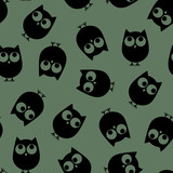 Vector illustration. Seamless cute pattern. Owls on the khaki background.