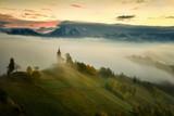 Autumn in the alps, Slovenia around the village Jamnik - panorama