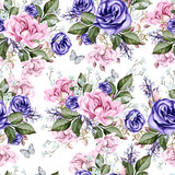 Beautiful watercolor pattern with peony flowers, anemone and rose.   - 219175509