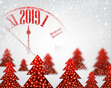 White 2019 New Year background with clock and Christmas trees. - 219187965