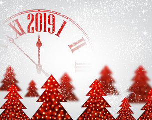 White 2019 New Year background with clock and Christmas trees. © Vjom