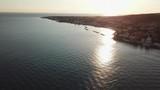 Santa Marinella - Italy. Aerial view of A Small mediterranean village and his coast at sunset - 219193900