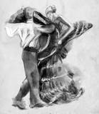 Spanish dancers. An hand drawn illustration, freehand sketching. - 219194956