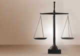 Law scales on table background. Symbol of justice - 219197109