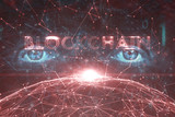 Futuristic blockchain word on artistic red colored cyberspace network with human eyes background. - 219197501