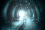 Abstract blurred cyan blue colored tunnel with computer binary numbers background.  - 219197758